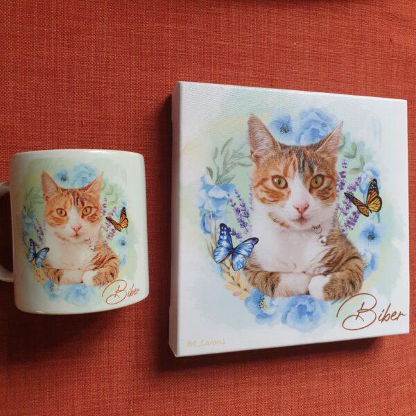 çiçek halkalı kedili kanvas