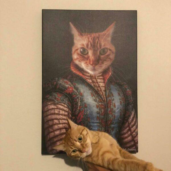 Kraliyet kostümlü sarmal kedi tablosu
