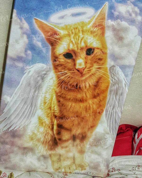 Melek kanatlı sarmal kedi tablosu
