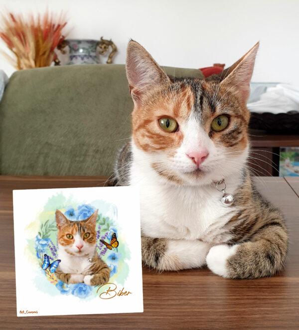 çiçek halkalı kedi tablosu