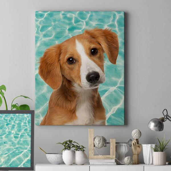 Havuz Yansımalı pop art evcil hayvan köpek tablosu