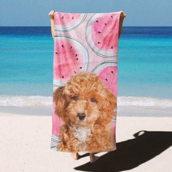 özel tasarım evcil hayvan portre karpuzlu plaj havlusu