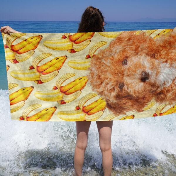 özel tasarım evcil hayvan portre muzlu plaj havlusu