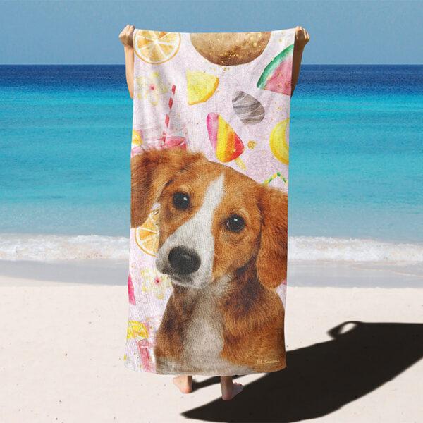 özel yaz dondurmalı desenli köpekli plaj havlusu