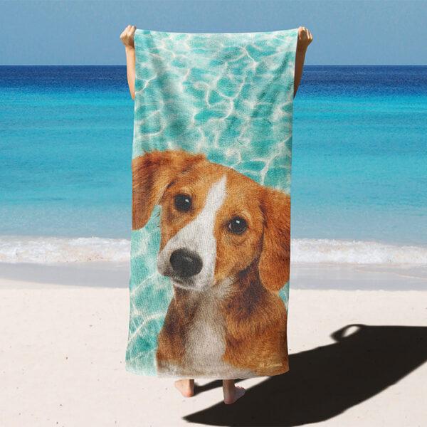 özel havuz dokulu köpekli plaj havlusu