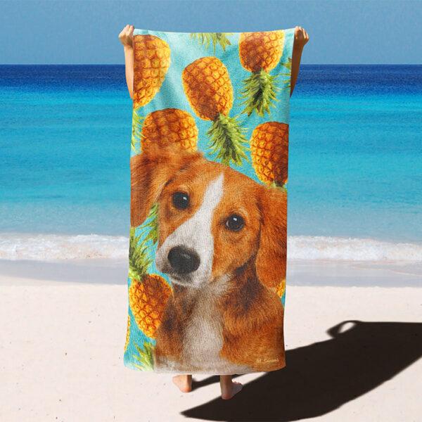 özel ananas desenli köpekli plaj havlusu
