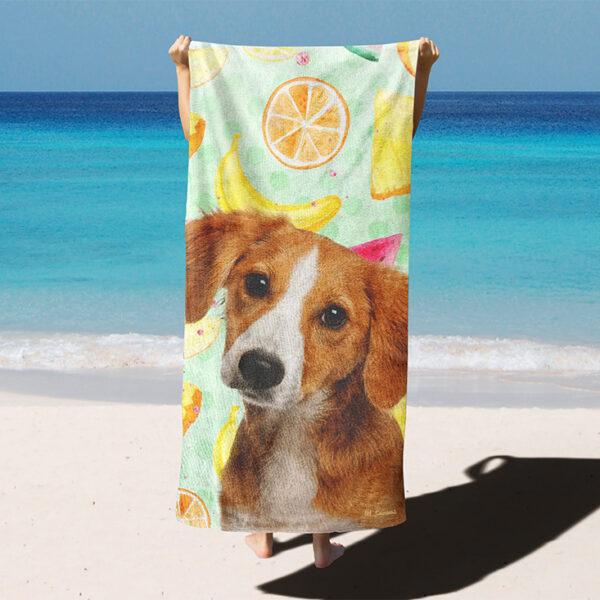 özel yaz desenli köpekli plaj havlusu