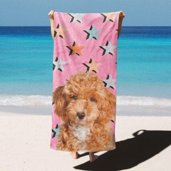 özel tasarım evcil hayvan portrelyıldızlı plaj havlusu