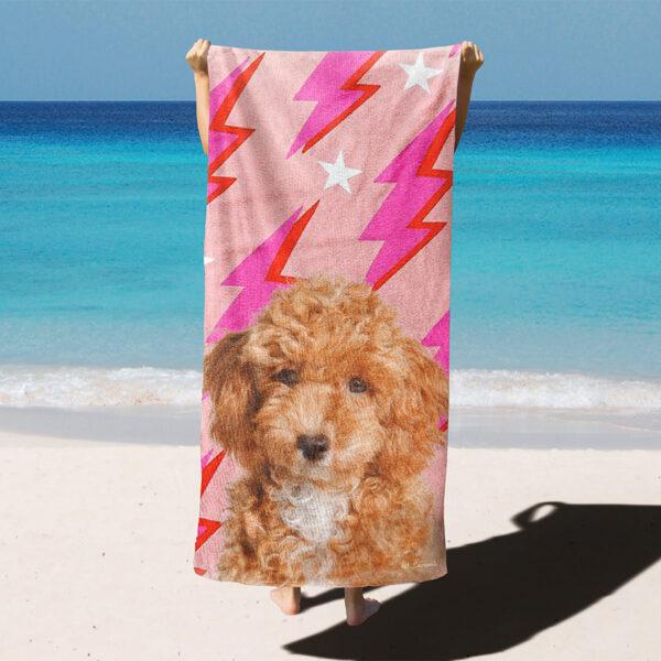 özel tasarım evcil hayvan portreli şimşekli plaj havlusu