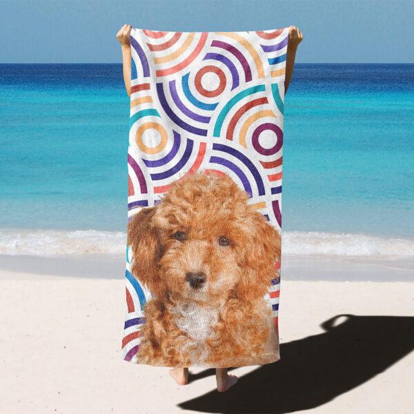 özel tasarım evcil hayvan portre renkli sarmal çizgili plaj havlusu