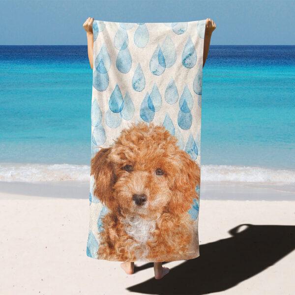 özel tasarım evcil hayvan portre yağmur damlalı plaj havlusu