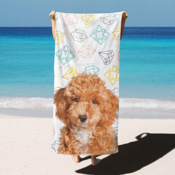 özel tasarım evcil hayvan portre kristal desenli plaj havlusu