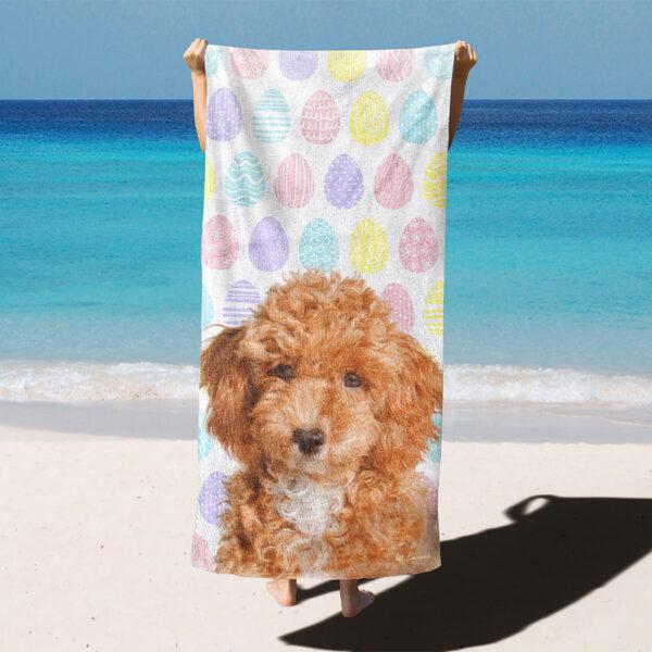 özel tasarım evcil hayvan portre paskalya yumurtalı plaj havlusu