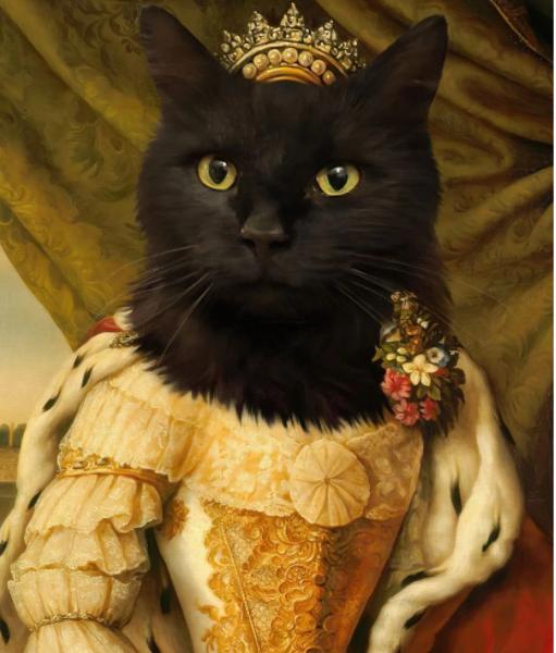 Özel Tasarım Rönesans Temalı Siyah Kedi Kraliçe Tablosu