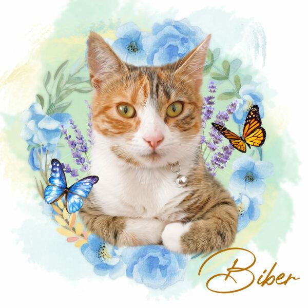 Çiçek Halka Kelebekli Pet Canvas