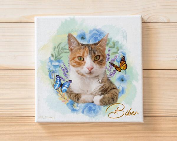 Çiçek Halkalı Kedi Pet Canvas