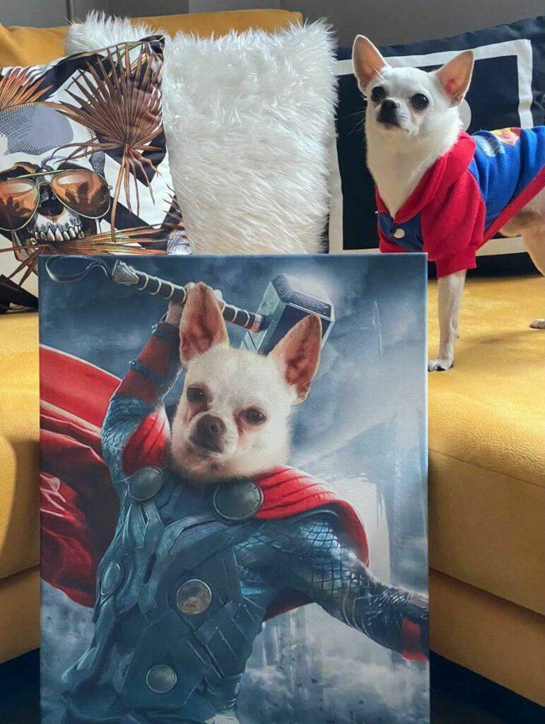 Özel Tasarım Köpekli Süper Kahraman Thor Tablosu