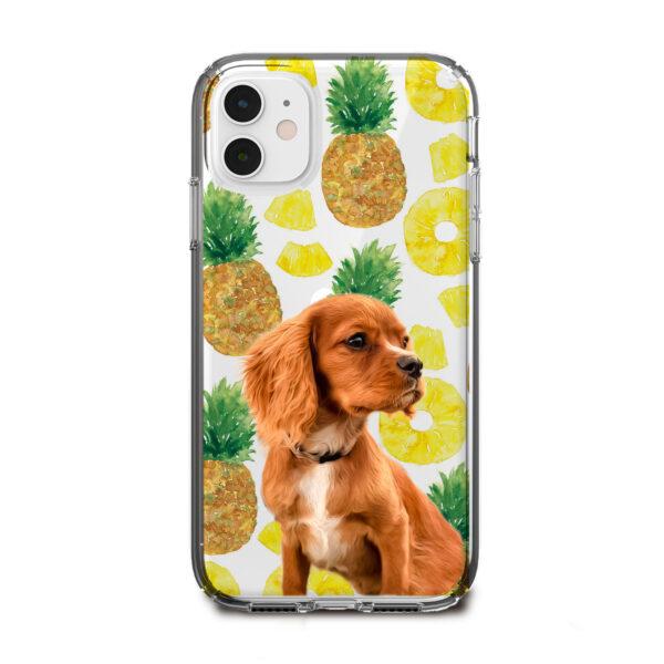ananas desenli köpekli telefon kılıfı