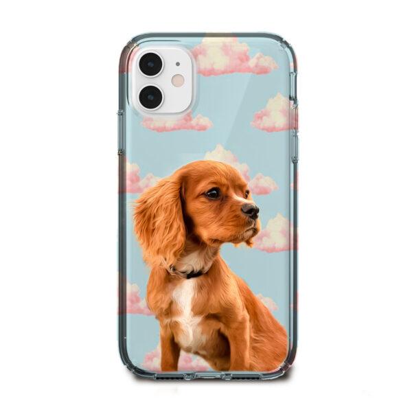 bulut desenli köpekli telefon kılıfı