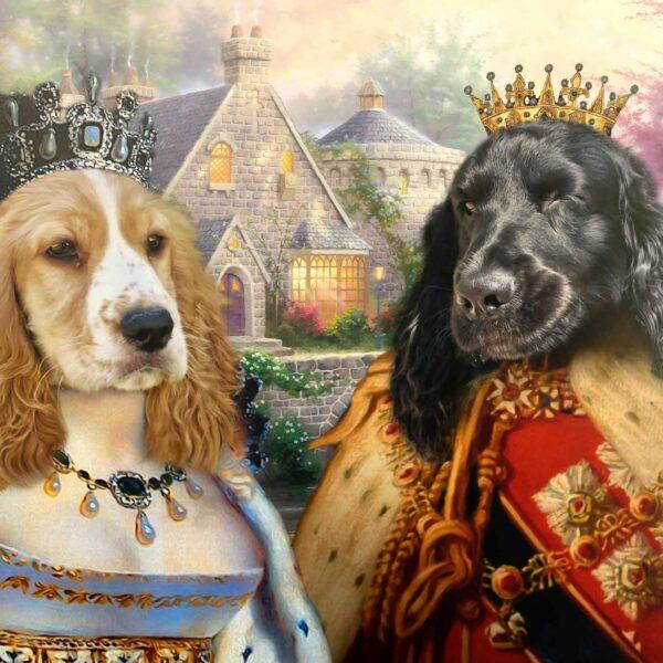 ikili kraliyet hayvan pet kanvas tablosu