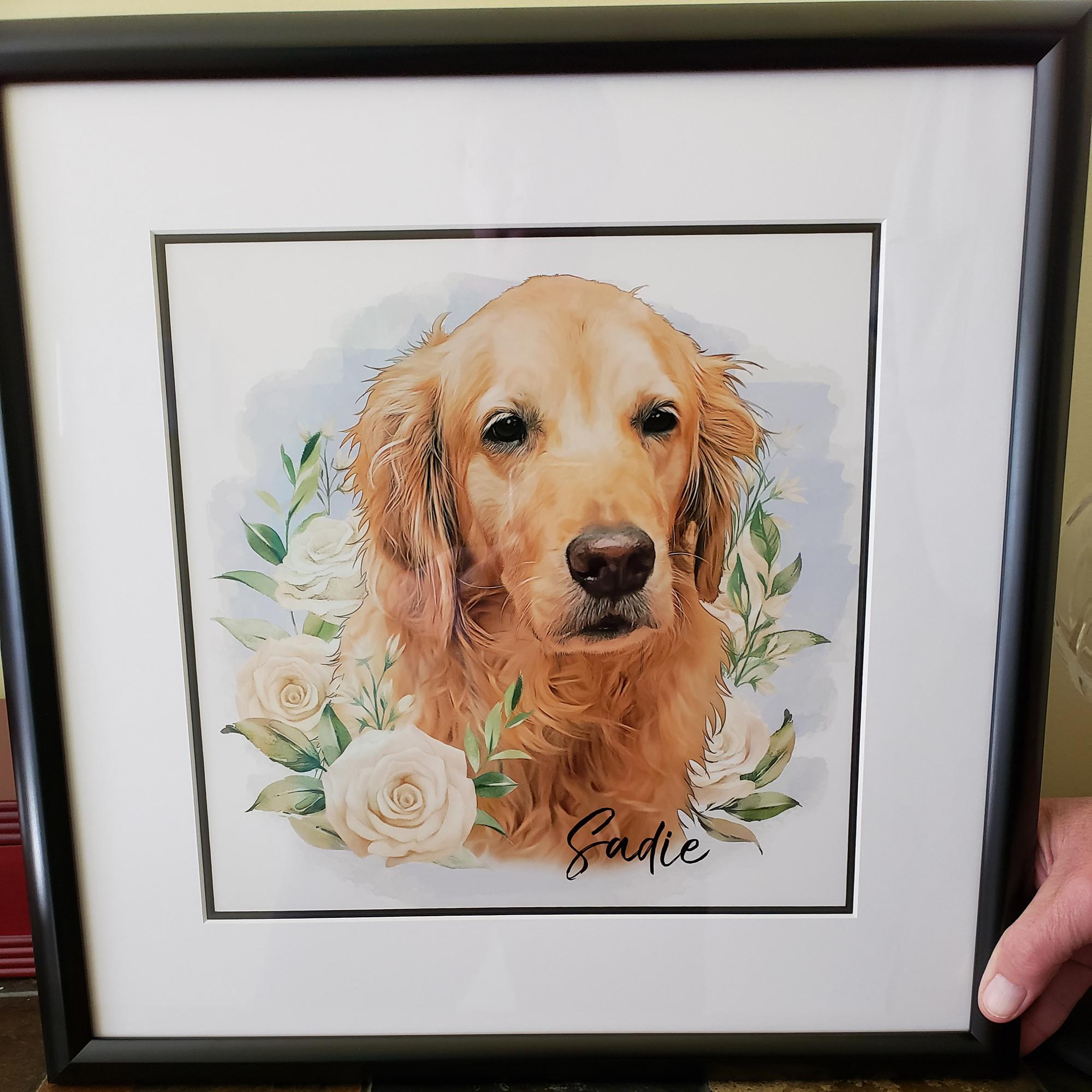 özel tasarım çiçekli pet portre