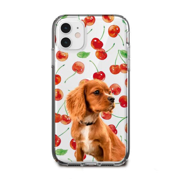 kiraz desenli köpekli telefon kılıfı