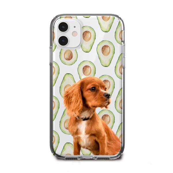 avokado desenli köpekli telefon kılıfı