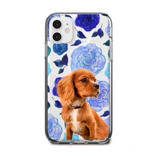 mavi gül desenli köpekli telefon kılıfı