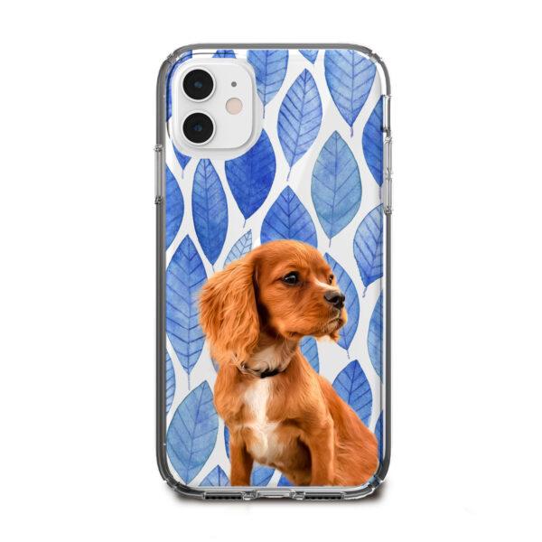 mavi yaprak desenli köpekli telefon kılıfı