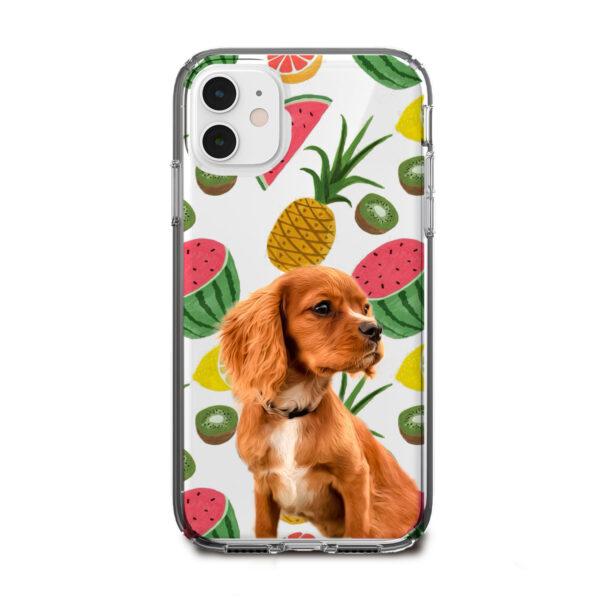 tropik meyve desenli köpekli telefon kılıfı