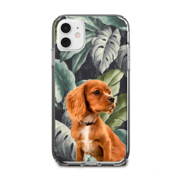 yaprak desenli köpekli telefon kılıfı