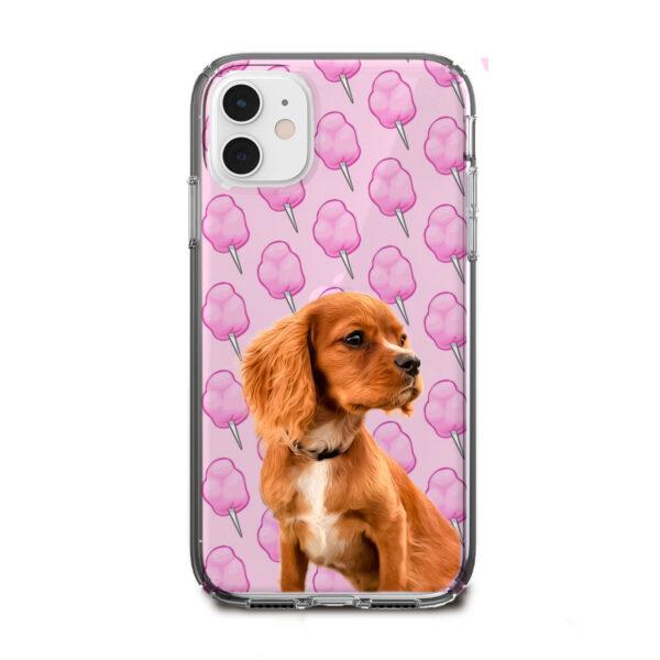 pamuk şeker desenli köpekli telefon kılıfı