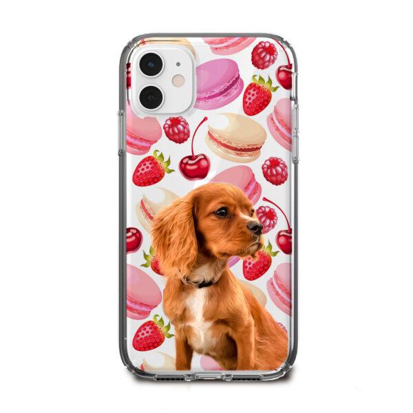 pembe makaron desenli köpekli telefon kılıfı