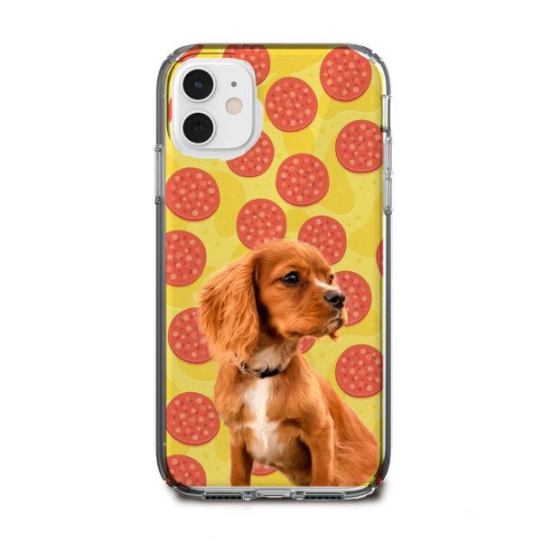 pizza desenli köpekli telefon kılıfı