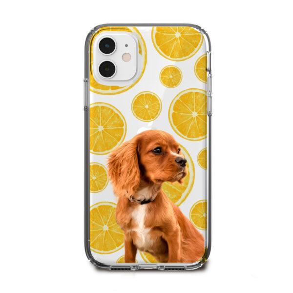 portakal desenli köpekli telefon kılıfı