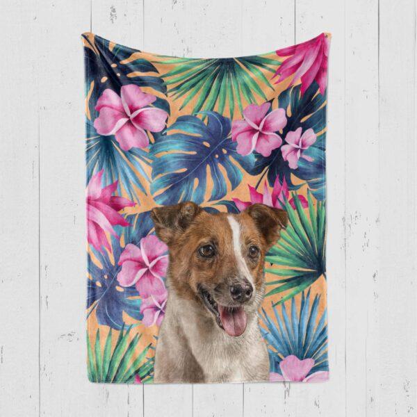 tropik yapraklı köpek battaniye
