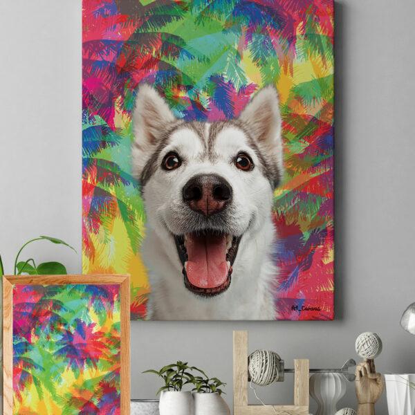 Renkli Palmiye Köpek Tablosu