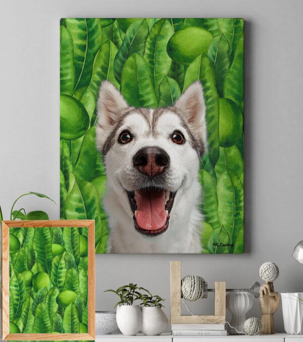 Yeşil Yaprak Dokulu Pop Art Tablo